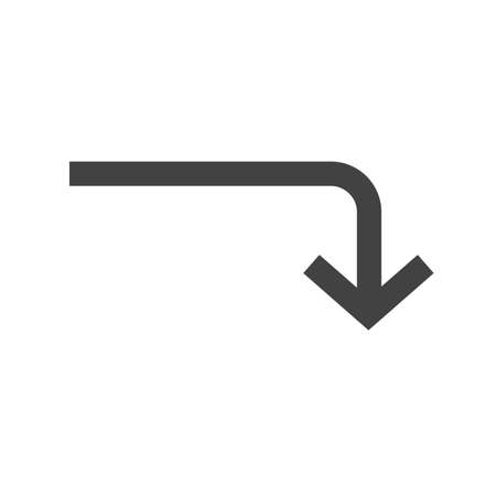 activate: Arrow, turn, down icon vector image. Can also be used for arrows. Suitable for mobile apps, web apps and print media. Illustration