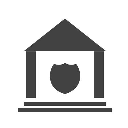enforce: Police, station, justice icon vector image.Can also be used for building and landmarks . Suitable for mobile apps, web apps and print media. Illustration