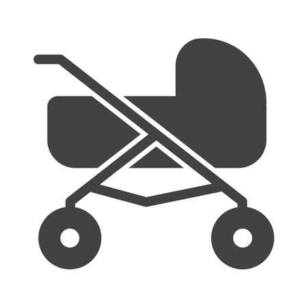 baby girl: Stroller, baby, girl icon image.