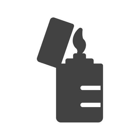 butane: Lighter, flame, fire icon image.  Illustration