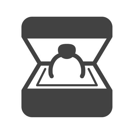 web engagement: Box, ring, engagement icon vector image. Can also be used for makeup and accessories. Suitable for web apps, mobile apps and print media.