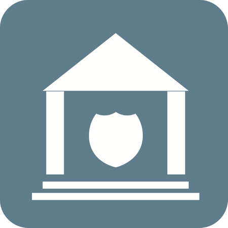 enforcement: Police, station, justice icon vector image.Can also be used for building and landmarks . Suitable for mobile apps, web apps and print media. Illustration