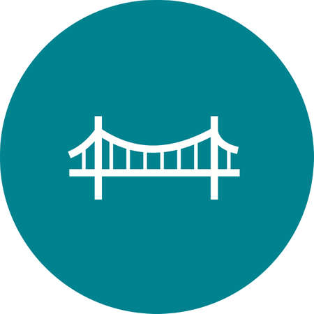suspension bridge: Bridge, suspension, rope icon vector image.Can also be used for building and landmarks . Suitable for mobile apps, web apps and print media.