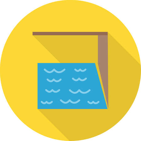 swimming pool home: Pool, swimming, blue icon vector image.Can also be used for building and landmarks . Suitable for mobile apps, web apps and print media.