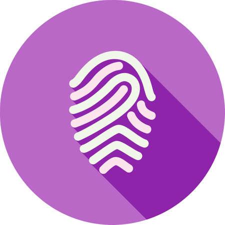 odcisk kciuka: Fingerprint, druk, niepowtarzalny wizerunek ikon wektorowych. Ilustracja