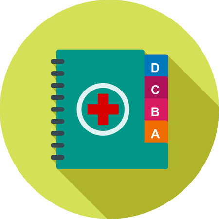 historia clinica: Médicos, notas, icono médico vector de imagen. También puede ser utilizado para la asistencia sanitaria y la ciencia. Adecuado para su uso en aplicaciones web, aplicaciones móviles y material de impresión. Vectores
