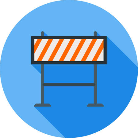 dangerous work: Barricade, warning, barrier icon vector image. Can also be used for objects. Suitable for web apps, mobile apps and print media. Illustration