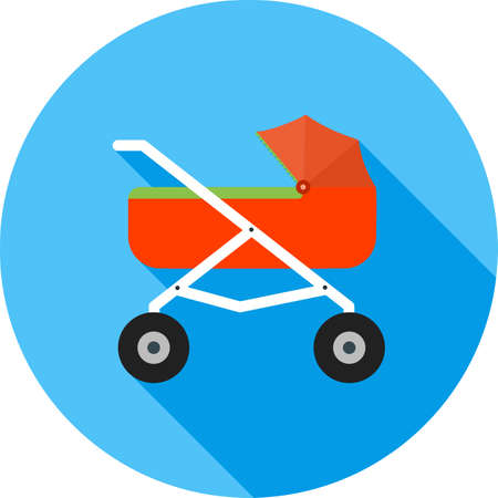 toddler playing: Stroller, baby, girl icon vector image. Can also be used for objects. Suitable for web apps, mobile apps and print media. Illustration