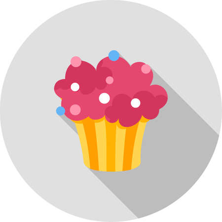 strawberry cake: Cupcake, strawberry, cake icon vector image. Can also be used for party. Suitable for use on web apps, mobile apps and print media.