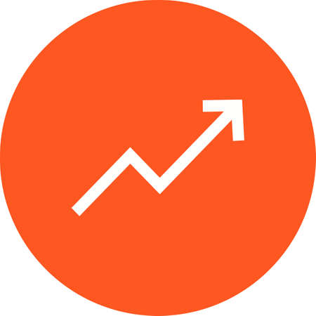 trending: Trend, up, graph icon vector image. Can also be used for material design. Suitable for web apps, mobile apps and print media. Illustration