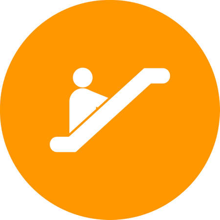 shopping center interior: Escalator, mall, shopping icon vector image. Can also be used for hotel and restaurant. Suitable for use on web apps, mobile apps and print media.