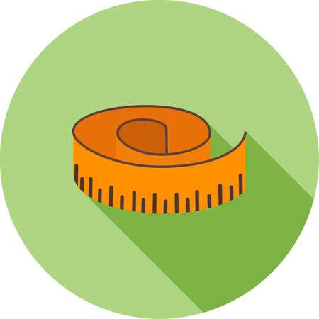 テープ、メジャー、メーター アイコン ベクトル画像。フィットネスやスポーツにも使用できます。Web アプリ、携帯アプリ、印刷メディアに適して