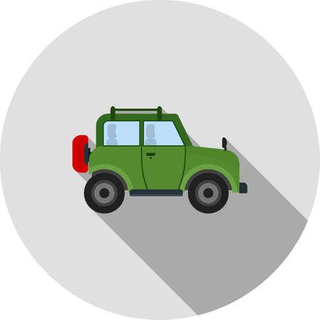 Safari, jeep, vector afbeelding woestijn icoon. Kan ook worden gebruikt om te kamperen. Geschikt voor web apps, mobiele apps en gedrukte media. Stock Illustratie
