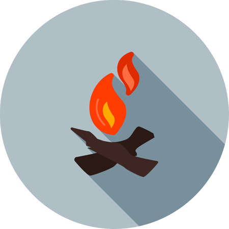 afterglow: Fire, bonfire, camp icon vector image. Can also be used for camping. Suitable for web apps, mobile apps and print media. Illustration
