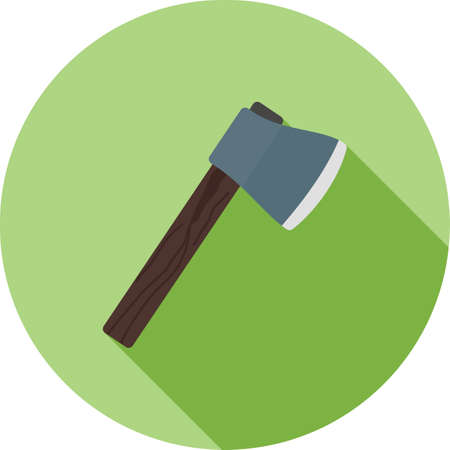 woodpile: Axe, wooden, handle icon vector image. Can also be used for camping. Suitable for web apps, mobile apps and print media.