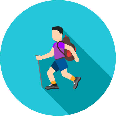 Hiking, trekking, travel icon vector image. Can also be used for camping. Suitable for web apps, mobile apps and print media.