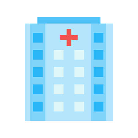 emergency room: Hospital, building, emergency icon vector image.Can also be used for building and landmarks . Suitable for mobile apps, web apps and print media.