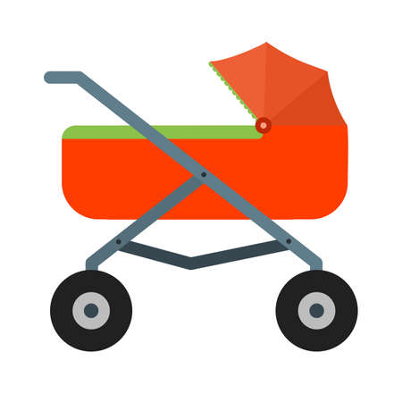 cute baby girls: Stroller, baby, girl icon vector image. Can also be used for objects. Suitable for web apps, mobile apps and print media. Illustration