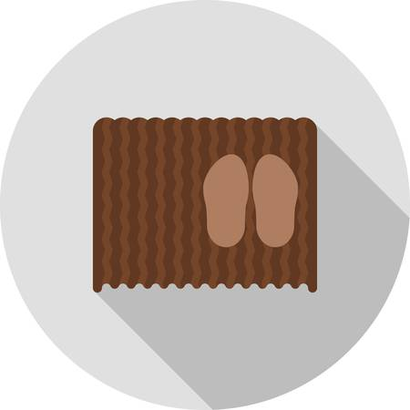 doormat: Mat, doormat, door icon vector image.Can also be used for hotel and restaurant. Suitable for mobile apps, web apps and print media. Illustration