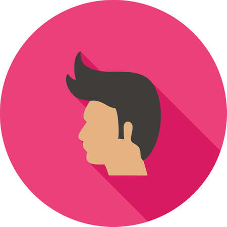 haircare: Model, hair, hairstyle icon vector image. Can also be used for barbers tools. Suitable for web apps, mobile apps and print media. Illustration