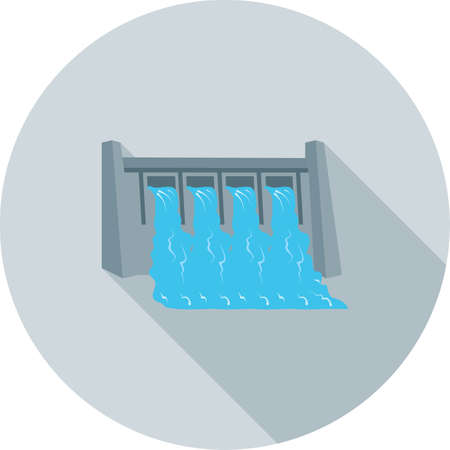 reservoir: Dam, water, hydro icon vector image.Can also be used for ecology. Suitable for mobile apps, web apps and print media.