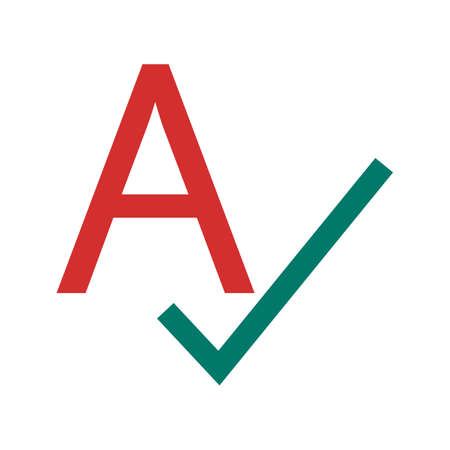 spells: Spell, check, spellcheck icon vector image. Can also be used for material design. Suitable for web apps, mobile apps and print media.