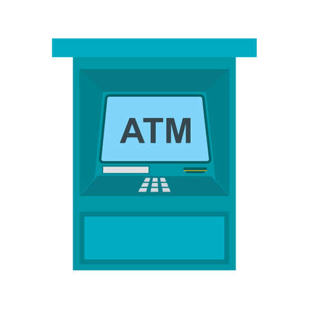 automatic transaction machine: Atm, receipt, card icon vector image. Can also be used for hotel and restaurant. Suitable for use on web apps, mobile apps and print media.