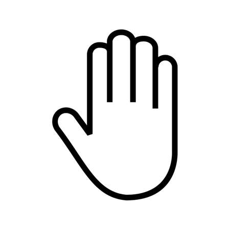restrictions: Stop, hand, sign icon vector image. Can also be used for security. Suitable for mobile apps, web apps and print media.
