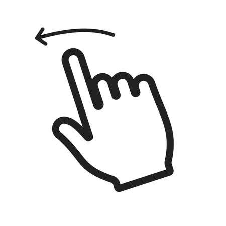스 와이프, 왼쪽, 아이콘 벡터 이미지를 터치합니다. 사용자 터치 제스처로 사용할 수도 있습니다. 모바일 앱, 웹 앱 및 인쇄 매체에 적합합니다.