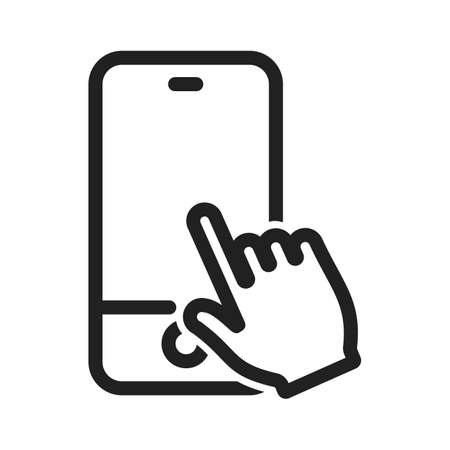 Tacto, móvil, icono del dispositivo image.Can vector también ser utilizado para gestos táctiles usuario. Adecuado para aplicaciones móviles, aplicaciones web y medios impresos. Ilustración de vector