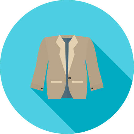 leather coat: Jacket, fashion, winter icon vector image. Can also be used for clothes and fashion. Suitable for web apps, mobile apps and print media. Illustration