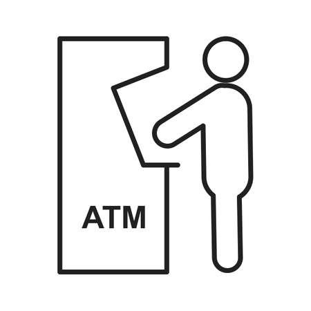 automatic transaction machine: Atm, la recepción, icono de la tarjeta vector de imagen. También se puede utilizar para los seres humanos. Adecuado para su uso en aplicaciones web, aplicaciones móviles y material de impresión.