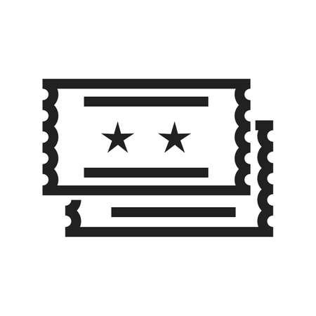 Film, kaartjes, afbeelding loterij pictogram vector. Kan ook gebruikt worden voor outdoor plezier. Geschikt voor gebruik op het web apps, mobiele apps en gedrukte media. Stock Illustratie