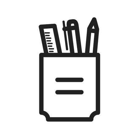 schooling: Stationery, holder, pencil icon vector image. Can also be used for schooling. Suitable for use on web apps, mobile apps and print media. Illustration