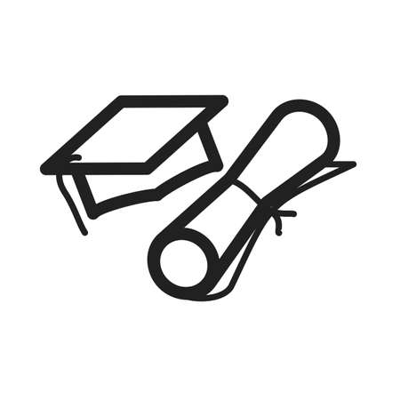 schooling: Graduation, cap, students icon vector image. Can also be used for schooling. Suitable for use on web apps, mobile apps and print media.