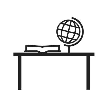 final college: Study, desk, studying icon vector image. Can also be used for schooling. Suitable for use on web apps, mobile apps and print media.