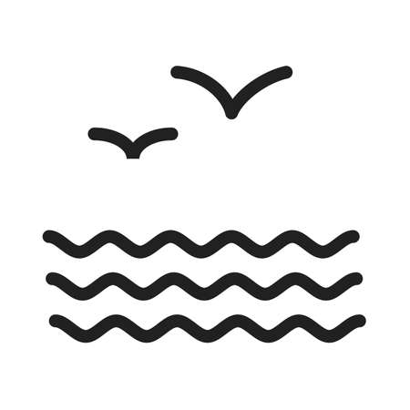 migrating birds: Birds, water, flock icon vector image. Can also be used for sea. Suitable for use on web apps, mobile apps and print media.