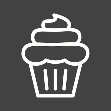 strawberry cake: Cupcake, strawberry, cake icon vector image. Can also be used for bakery. Suitable for use on web apps, mobile apps and print media.