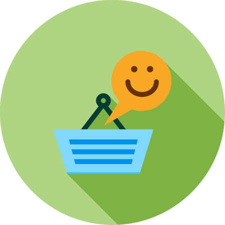 persona feliz: Cliente, feliz, icono de las manos la imagen del vector. También se puede utilizar para el Viernes Negro. Adecuado para su uso en aplicaciones web, aplicaciones móviles y material de impresión.
