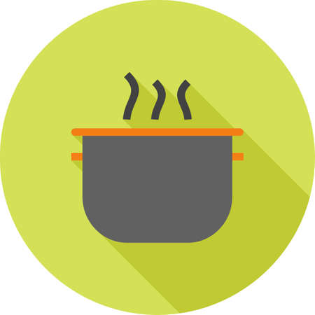 household objects: Pot, cooking, soup icon vector image. Can also be used for household objects. Suitable for use on web apps, mobile apps and print media.