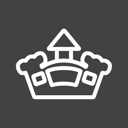Castle, springkasteel, vector afbeelding park pictogram. Kan ook gebruikt worden voor outdoor plezier. Geschikt voor gebruik op het web apps, mobiele apps en gedrukte media.