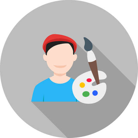 artist's canvas: Artist, painter, male icon vector image. Can also be used for professionals. Suitable for web apps, mobile apps and print media. Illustration