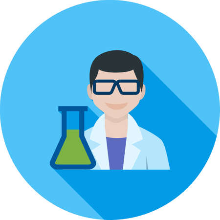researcher: Scientist, medical, laboratory icon vector image. Can also be used for professionals. Suitable for web apps, mobile apps and print media.