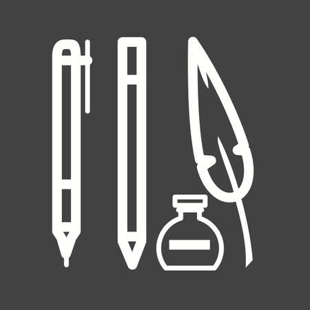 schooling: Pen, equipment, school icon vector image. Can also be used for schooling. Suitable for use on web apps, mobile apps and print media.