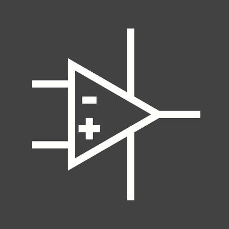 ic: Amplifier, technology, operational icon vector image. Can also be used for electric circuits. Suitable for use on web apps, mobile apps and print media.
