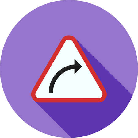 restrictions: Sign, arrow, curve icon vector image. Can also be used for traffic signs. Suitable for web apps, mobile apps and print media.