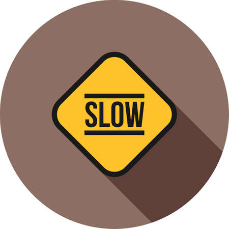 slow lane: Slow, sign, down icon vector image. Can also be used for traffic signs. Suitable for web apps, mobile apps and print media. Illustration