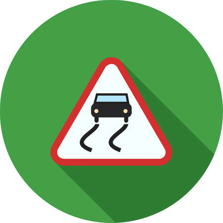 road design: Slippery, road, sign icon vector image. Can also be used for traffic signs. Suitable for web apps, mobile apps and print media.