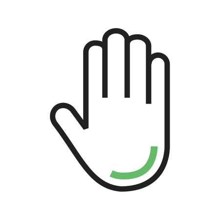 Stop, invece, vettore icona segno. Può essere utilizzato anche per la sicurezza. Adatto per applicazioni mobili, applicazioni web e supporti di stampa.