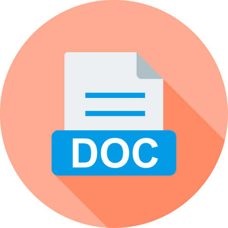 docs: DOC, document, file icon vector image. Can also be used for file format, design and storage. Suitable for mobile apps, web apps and print media.